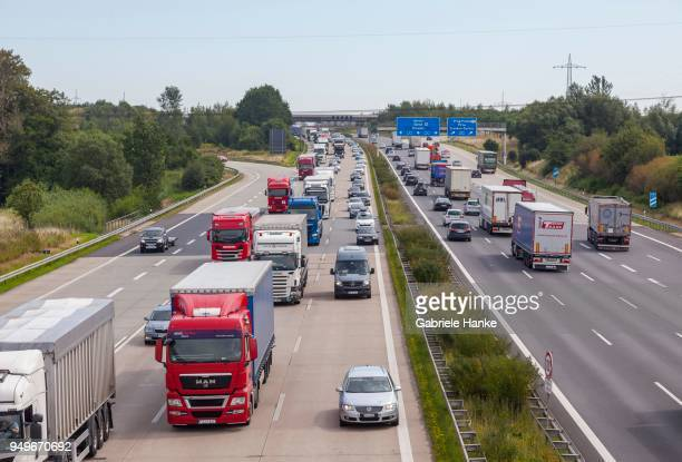 Lorries in traffic jam on the A4 at the Dresden West triangle, Saxony, Germany
