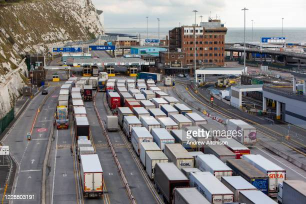 Lorries line up at Frontier control barriers for departure inside the Eastern Dock of the Port of Dover is where the cross channel port is situated...