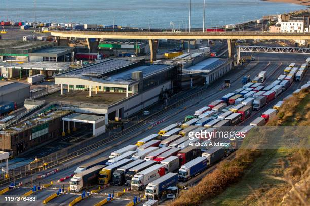 Lorries line up for departure inside the Eastern Dock of the Port of Dover is where the cross channel port is situated with ferries departing here to...