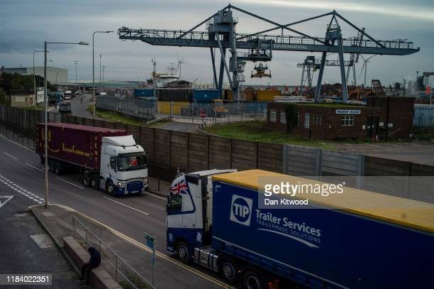 Lorries make their way too and from Tilbury Docks on October 28, 2019 in Tilbury, England. Purfleet port was the arrival point for a lorry trailer...