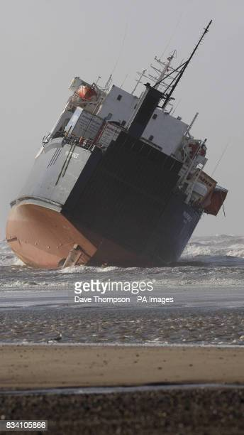 Lorries pictured on board the cargo ship Riverdance which has run aground at Blackpool due to the high winds It was carrying trucks and trailers from...