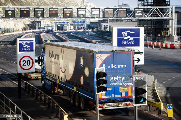 Lorries preparing to board the last ferry before the new Brexit restrictions in Dover, England on December 31st, 2020