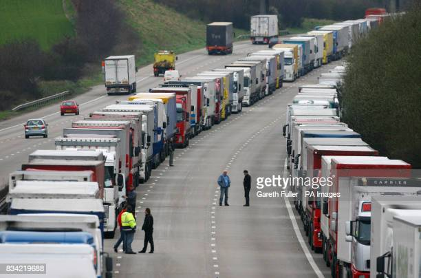 Lorries queue on the M20 near Ashford in Kent as Operation Stack contiues due to industrial action in France