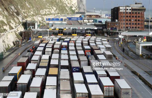 Lorries queue to enter the port of Dover in Kent. Christmas stockpiling and Brexit uncertainty have again caused huge queues of lorries to stack up...