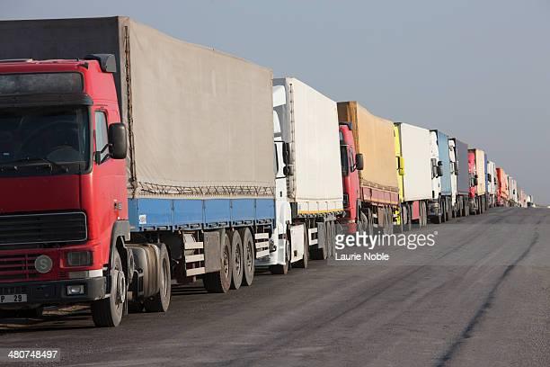 Lorries queuing, Turkemnistan border