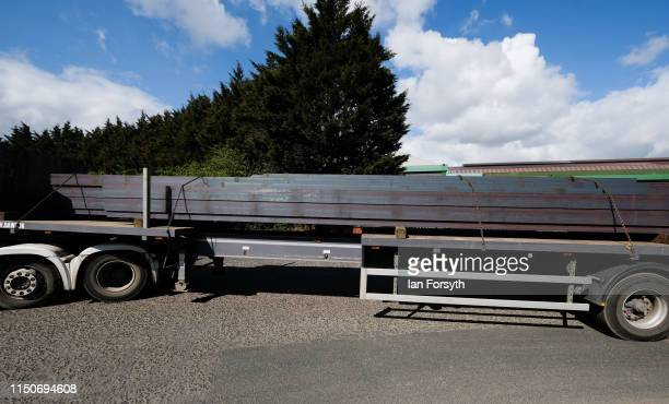 A lorry carrying steel girders leaves the British Steel Lackenby Steel works on May 21 2019 in Teesside England British Steel is on the verge of...
