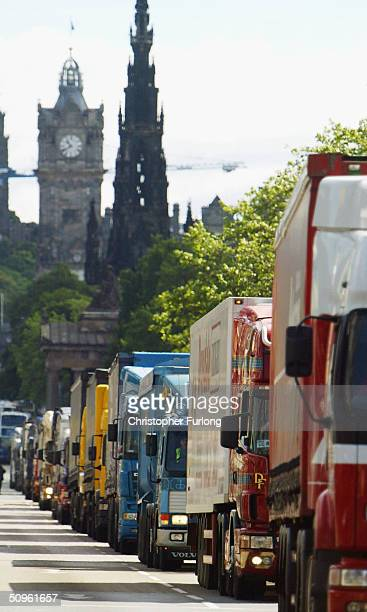 Lorry drivers from the Road Haulage Association stage a ?go-slow? protest, along Princes Street in an attempt to bring traffic to a halt on the the...
