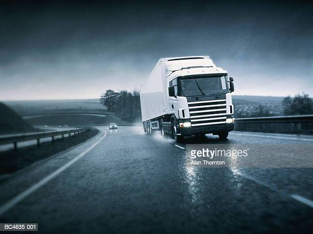 Lorry driving on wet motorway (Digital Enhancement)