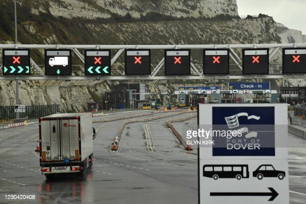 Lorry enters the Port of Dover, southeast England, on January 4, 2021 following Britain's departure from the European Union.