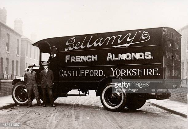 A lorry in the livery of Bellamys advertising French Almonds Castleford Yorks 1929