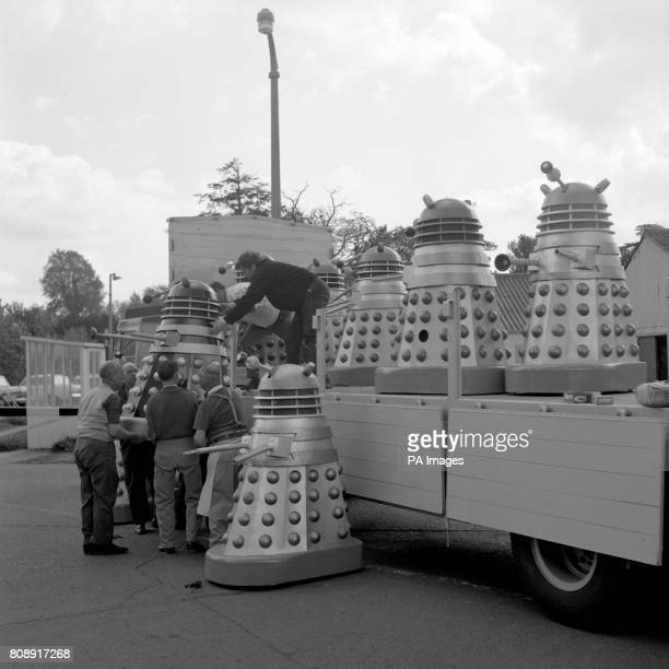 A lorryload of Daleks at Shepperton Studios near London before leaving by Dover en route for the Cannes Film Festival They are the stars in 'Dr Who...
