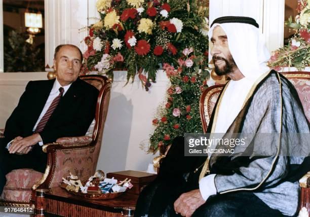 Lors de la crise de Golfe François Mitterrand rencontre le cheikh Zayed ben Sultan Al Nahyane aux Emirats Arabes Unis le 4 octobre 1990