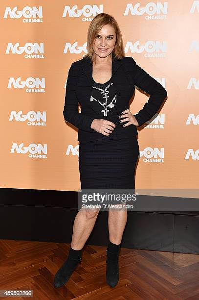 Lory Del Santo attends photocall for the presentation of the new Italian digital channel Agon Channel at Terrazza Martini on November 25, 2014 in...