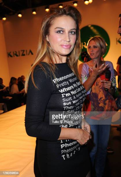 Lory Del Santo attends the runway at the Krizia Spring/Summer 2012 fashion show as part Milan Womenswear Fashion Week on September 22, 2011 in Milan,...