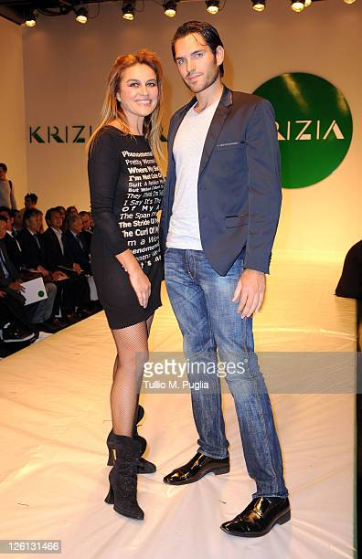 Lory Del Santo attends the runway at the Krizia Spring/Summer 2012 fashion show as part Milan Womenswear Fashion Week on September 22 2011 in Milan...