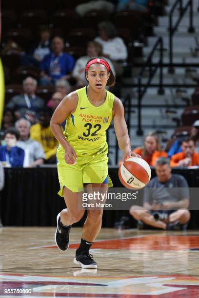 Loryn Goodwin of the Dallas Wings handles the ball against the New York Liberty during a preseason game on May 7 2018 at Mohegan Sun Arena in...