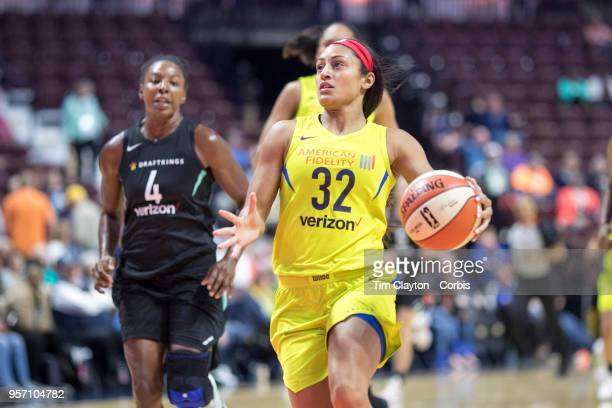 Loryn Goodwin of the Dallas Wings in action during the Dallas Wings Vs New York Liberty WNBA pre season game at Mohegan Sun Arena on May 7 2018 in...