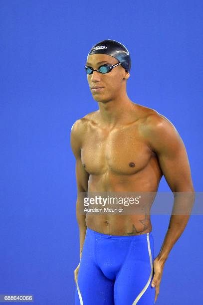 Lorys Bourelly prepares to compete in the 100m Men's Individual Freestyle on day four of the French National Swimming Championships on May 26 2017 in...