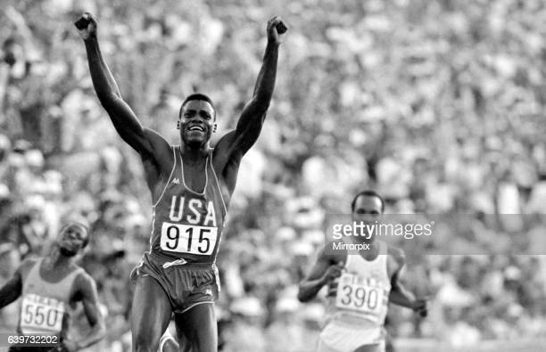 Los Angeles 1984 Carl Lewis celebrates after winning the Mens 100 metres final at the Olympic Games 4th August 1984