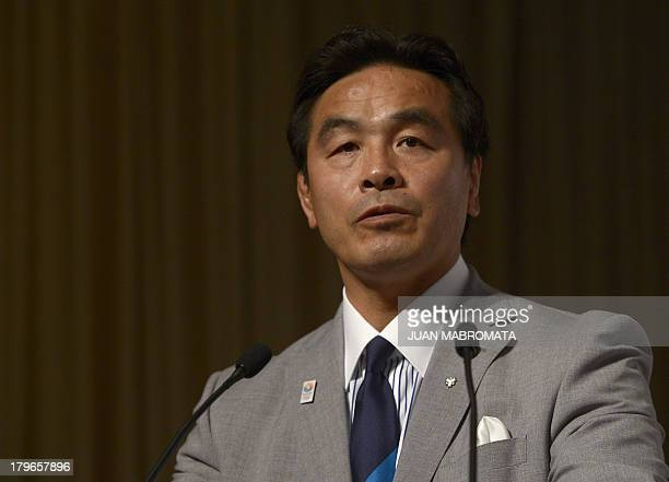 Los Angeles 1984 Olympian and Member of the House of Representatives Japanese wrestler Hiroshi Hase delivers a speech during a news conference...