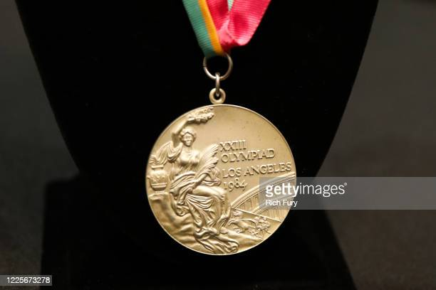 Los Angeles 1984 Summer Olympics silver medal is displayed at a press preview for sports legends featuring Kobe Bryant, FIFA and Olympic Medals at...