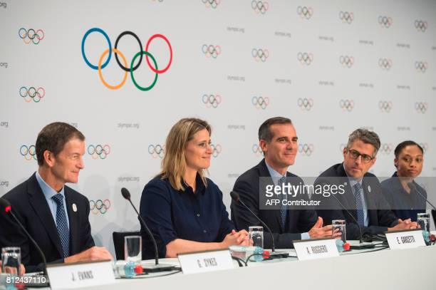 Los Angeles 2024 CEO Gene Sykes Head of the International Olympic Committee athletes' commission Angela Ruggiero Los Angeles Mayor Eric Garcetti LA...