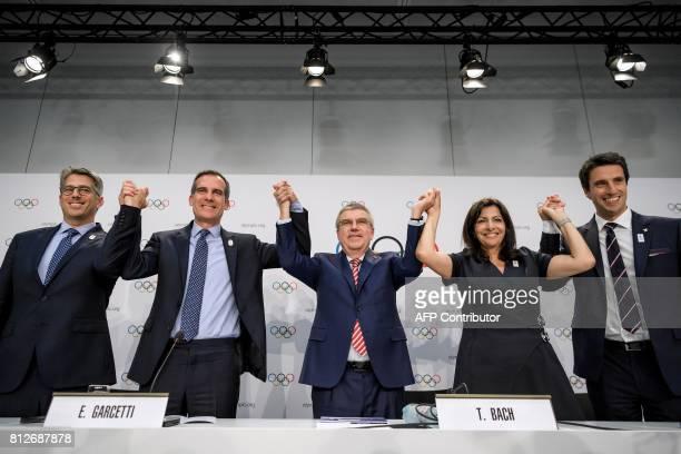 Los Angeles 2024 Olympic bid's Chairman Casey Wasserman Los Angeles' Mayor Eric Garcetti International Olympic Committee 's President German Thomas...