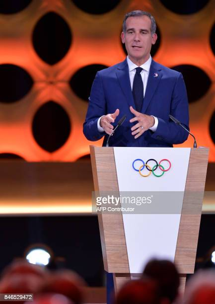 Los Angeles 2028 bid delegation member Los Angeles Mayor Eric Garcetti delivers a speech during the 131st International Olympic Committee Session in...