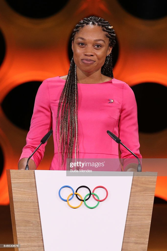 Los Angeles 2028 Bidding Committe Member and Olympic champion Allyson Felix during the 131th IOC Session - 2024 & 2028 Olympics Hosts Announcement at Lima Convention Centre on September 13, 2017 in Lima, Peru.