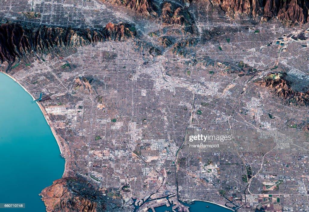 Los Angeles 3D Render Satellite View Topographic Map Horizontal : Stock Photo