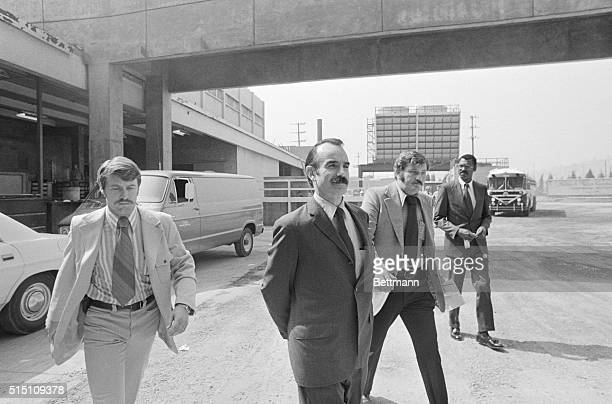 A handcuffed GGordon Liddy a member of the White House Security 'Plumbers' squad arrives at Los Angeles Count jail to await arraignment on charges of...