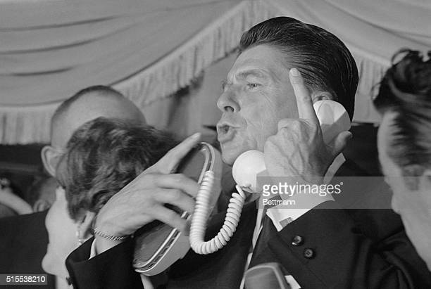 Los Angeles: Actor Ronald Reagan, apparently successful in his first attempt at politics as he leads the field for the Republican gubernatorial...