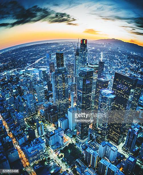 los angeles aerial view skyline - downtown district stock pictures, royalty-free photos & images