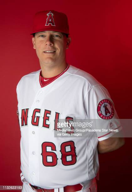 Los Angeles Angeles coach Andrew Bailey during photo day at Tempe Diablo Stadium on Tuesday February 19 2019 in Tempe Arizona