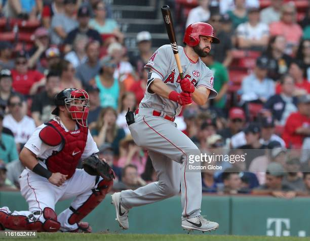 Los Angeles Angels catcher Andrew Bemboom hits the gamewinning base hit during the tenth inning The Boston Red Sox host the Los Angeles Angels in a...