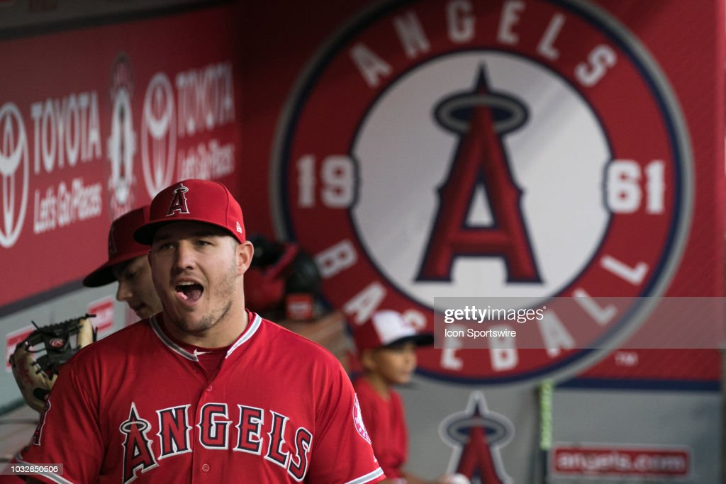 4224429fa Los Angeles Angels Center field Mike Trout looks on from the dugout ...
