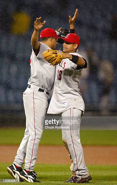 Los Angeles Angels' Closer Francisco Rodriguez and Orlando Cabrera celebrate the Angels' 125 victory over the Chicago White Sox May 10 2006 at US...