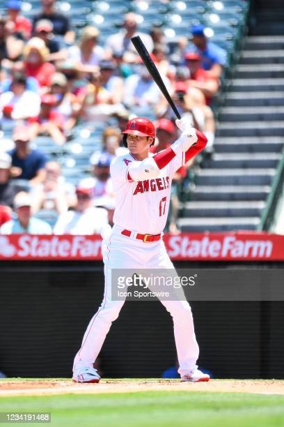 Los Angeles Angels designated hitter Shohei Ohtani at bat during a MLB game between the Seattle Mariners and the Los Angeles Angels of Anaheim on...