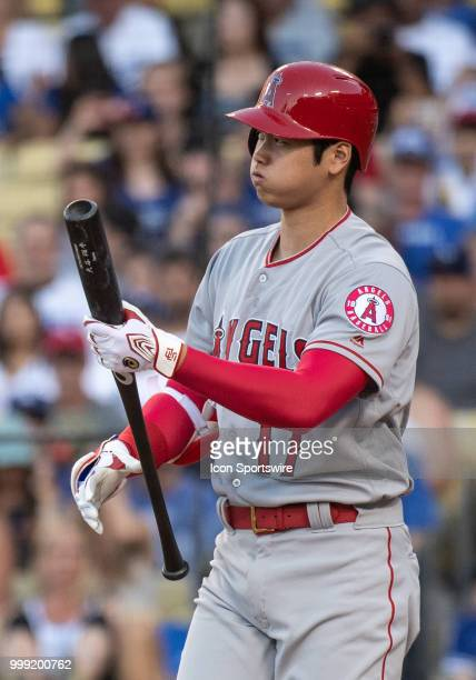 Los Angeles Angels designated hitter Shohei Ohtani during a MLB game between the Los Angeles Angels of Anaheim and the Los Angeles Dodgers on July 14...