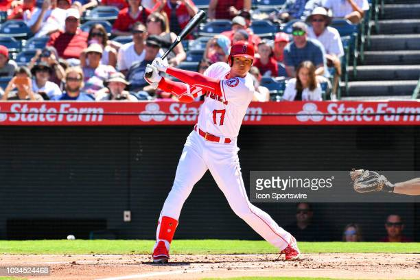 Los Angeles Angels Designated hitter Shohei Ohtani hits a foul ball during a MLB game between the Seattle Mariners and the Los Angeles Angels of...