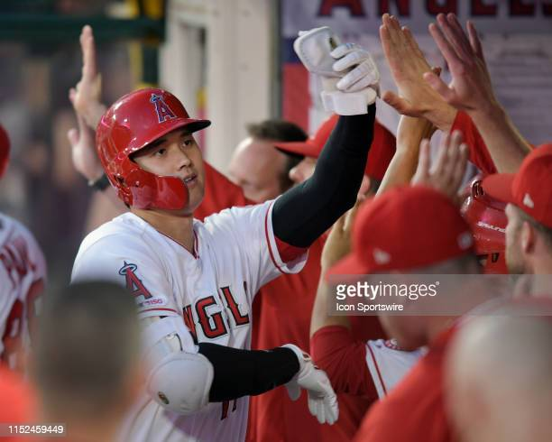 Los Angeles Angels designated hitter Shohei Ohtani in the dugout after Ohtani hit a two run home run in the third inning of a game against the...