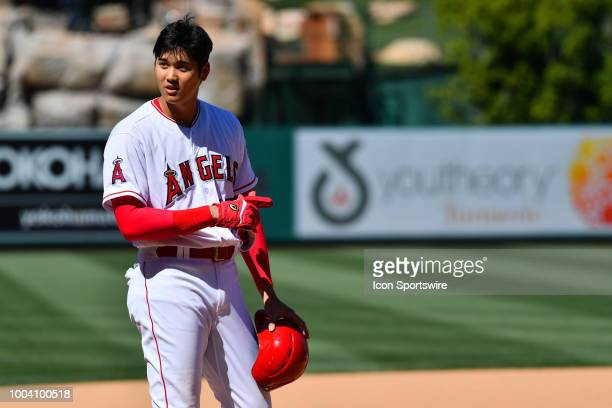 Los Angeles Angels designated hitter Shohei Ohtani looks on during a MLB game between the Houston Astros and the Los Angeles Angels of Anaheim on...