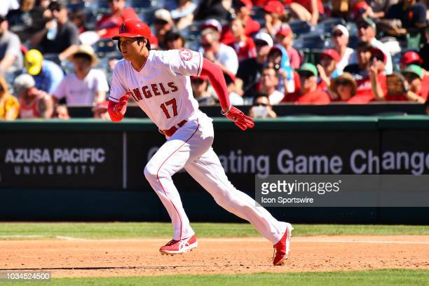 Los Angeles Angels designated hitter Shohei Ohtani runs towards second base during a MLB game between the Seattle Mariners and the Los Angeles Angels...