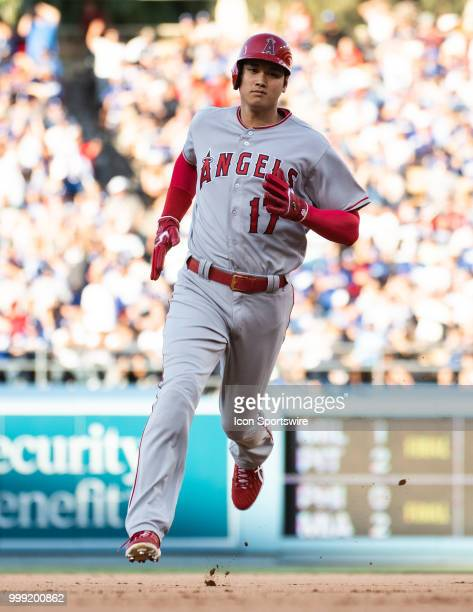 Los Angeles Angels designated hitter Shohei Ohtani sprints around the bases during a MLB game between the Los Angeles Angels of Anaheim and the Los...