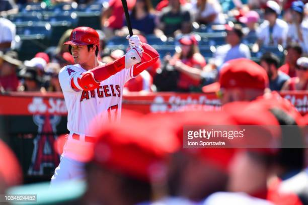 Los Angeles Angels Designated hitter Shohei Ohtani stands on deck during a MLB game between the Seattle Mariners and the Los Angeles Angels of...
