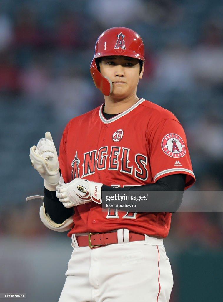 MLB: AUG 28 Rangers at Angels : News Photo