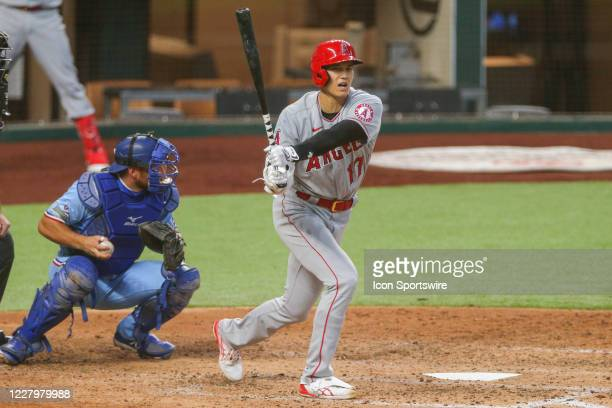 Los Angeles Angels designated hitter Shohei Ohtani strikes out during the MLB game between the Los Angeles Angels and Texas Rangers on August 9, 2020...