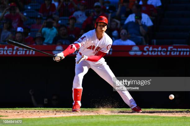 Los Angeles Angels Designated hitter Shohei Ohtani swings and misses on strike three during a MLB game between the Seattle Mariners and the Los...