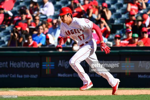 Los Angeles Angels Designated hitter Shohei Ohtani tries to steal second base during a MLB game between the Seattle Mariners and the Los Angeles...