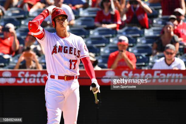 Los Angeles Angels Designated hitter Shohei Ohtani watches his foul ball during a MLB game between the Seattle Mariners and the Los Angeles Angels of...